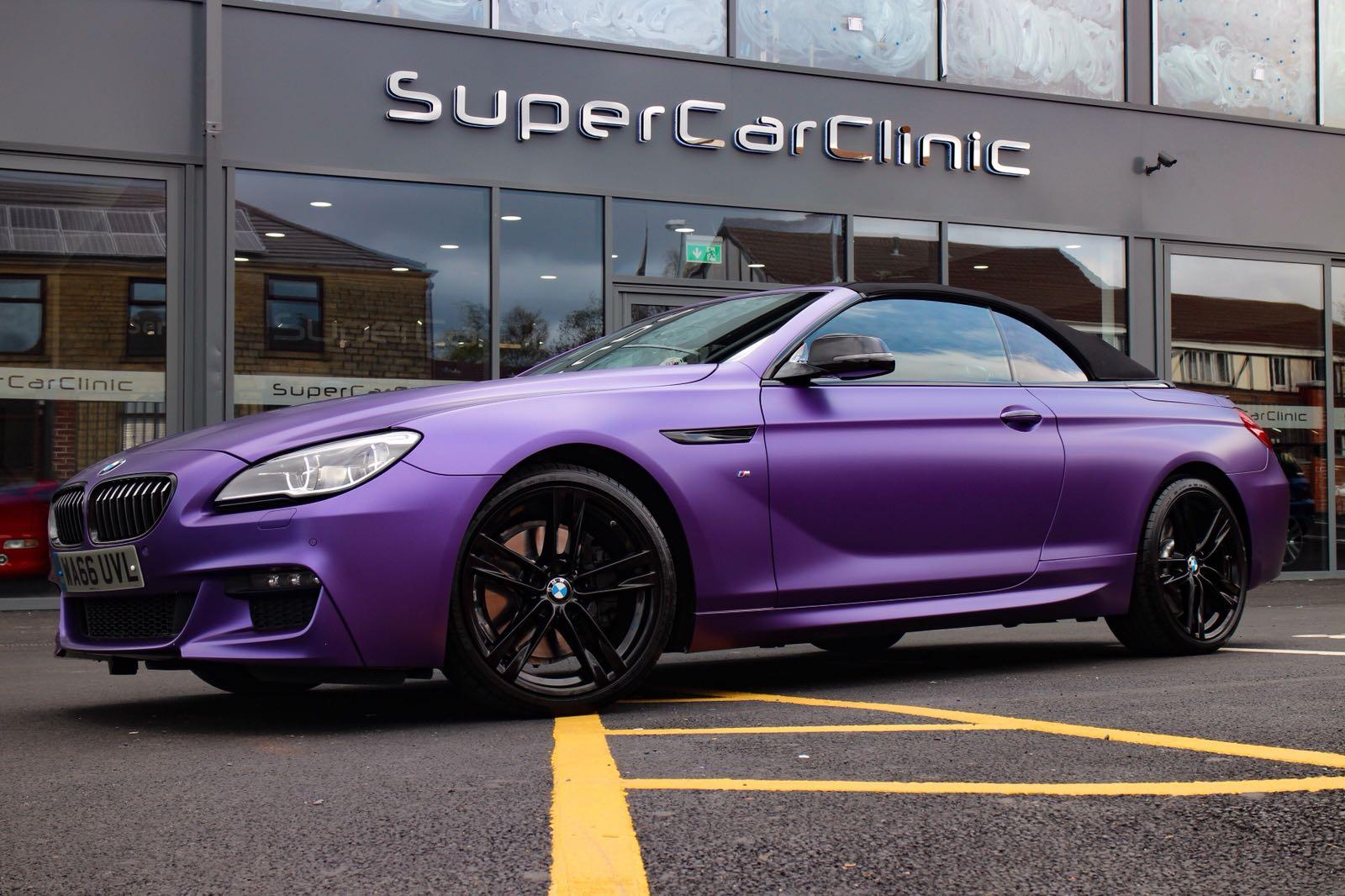 BMW 6 series convertible wrapped in Matt Metallic Purple