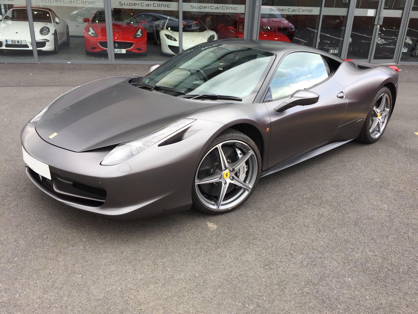 Ferrari 458 wrapped in Satin Matte Grey
